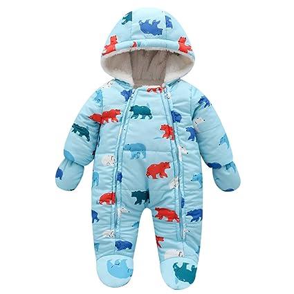 0c124030bebfb famuka ジャンプスーツ ベビー ロンパース 子ども カバーオール フード付き 防寒アウター ダウンジャケット動物柄 クマ