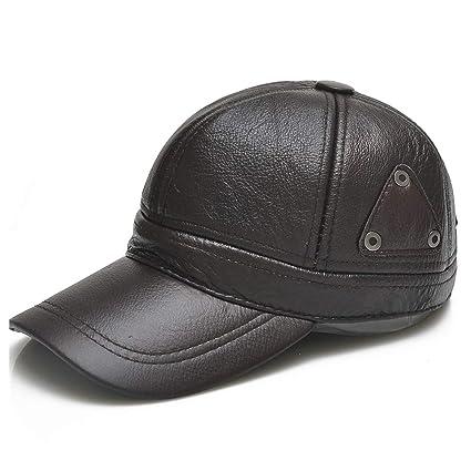 c3ea114c896 Amazon.com  XiangXiang 100% Leather Baseball Cap for Men Winter Warm Casual  Cap Male Warm Ears Dad Men s Baseball Cap Baseball Hat (Color   Black