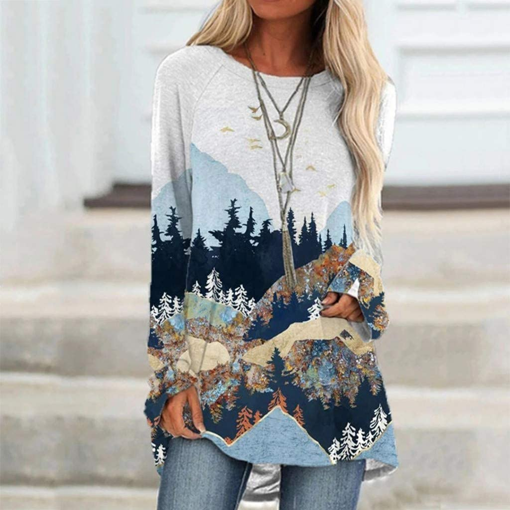 Fudule Womens Tunic Shirts Plus Size Long Sleeve Tops Fashion Mountain  Printed Pullover Sweatshirt Casual Blosues Shirt Active Shirts & Tees  Clothing, Shoes & Jewelry