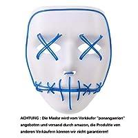 Alxcio LED Light EL Wire Cosplay Maske für Halloween Christmas Party Costume Mask Purge Horror Blau Mask