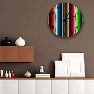"Mexican Serape Wooden Simple Wall Clock Indoor Non-Ticking Silent Sweep Movement Wall Decor for Office,Bathroom,Livingroom 12"" Colorful Stripes"