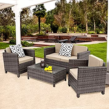 Superior Outdoor Patio Furniture Set, 5 Piece Rattan Wicker Sofa Cushioned With  Coffee Table, Grey