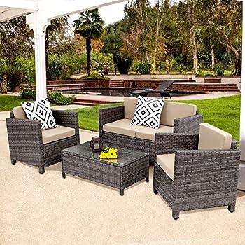 piece rattan beige set garden furniture home broyerk couch outdoor free patio product