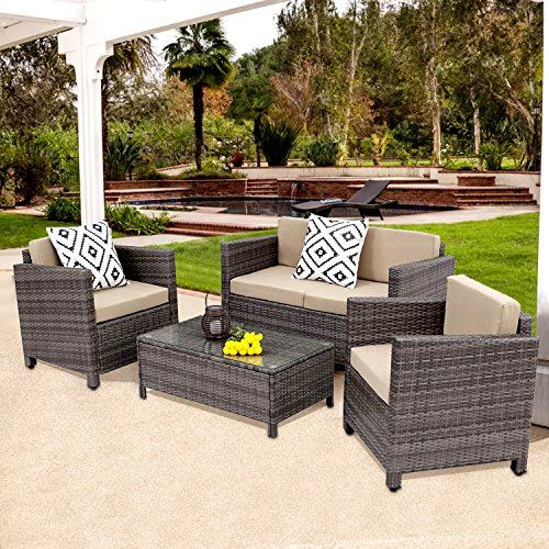 Outdoor Patio Furniture Set,Wisteria Lane 5 Piece Rattan Wicker Sofa Cushioned with Coffee Table, Grey