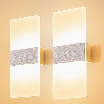 Yafido 2 * 12W Aplique Pared Interior LED Blanco Cálido Lámpara de Pared Moderna AC 220V plata cepillado para Salon Dormitorio Sala Pasillo Escalera: Amazon.es: Iluminación