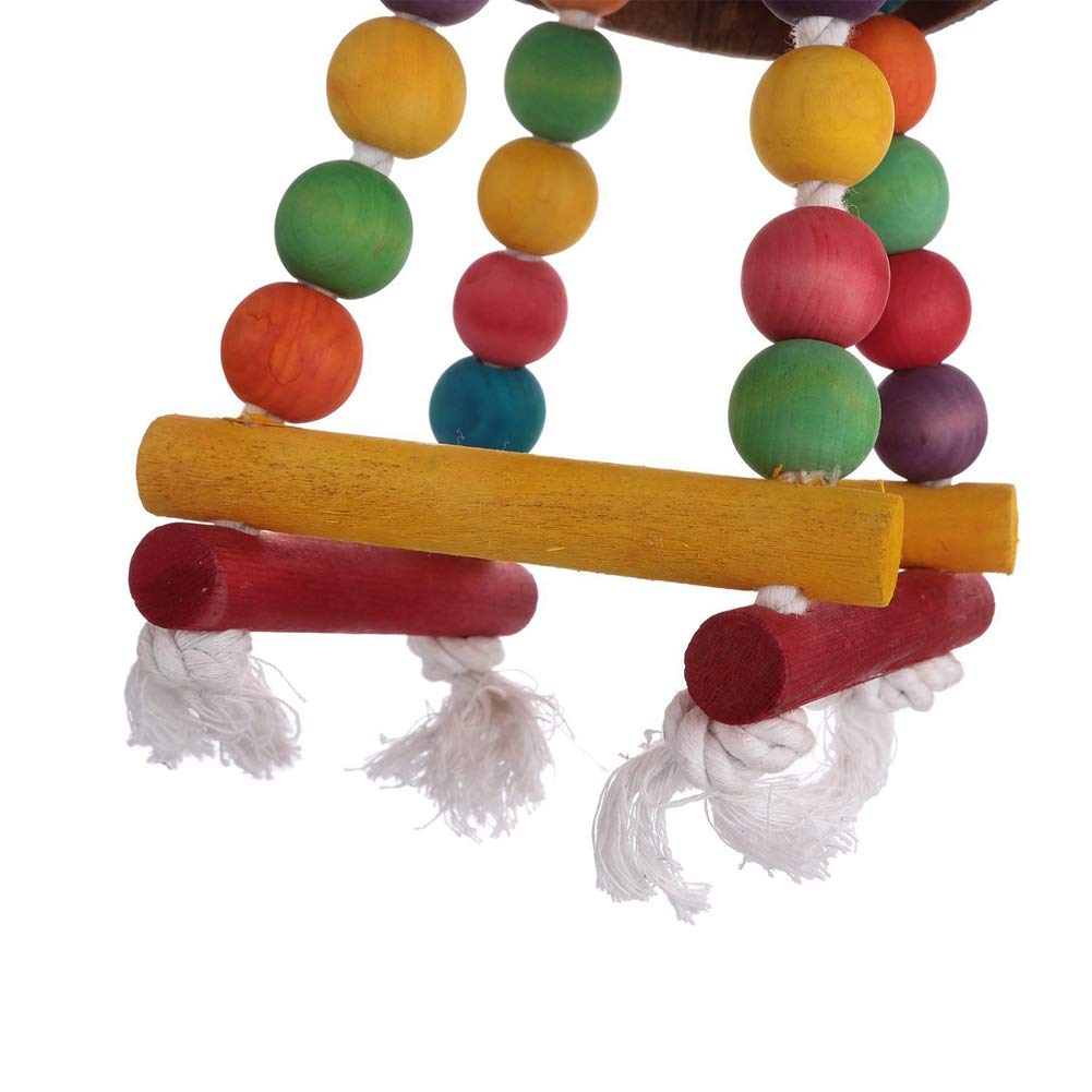 PanDaDa Coconut Shell Hanging Bird Nest Swing Toy Parrot Colorful Wooden Beads Durable Chew Toy Hanging for Cage
