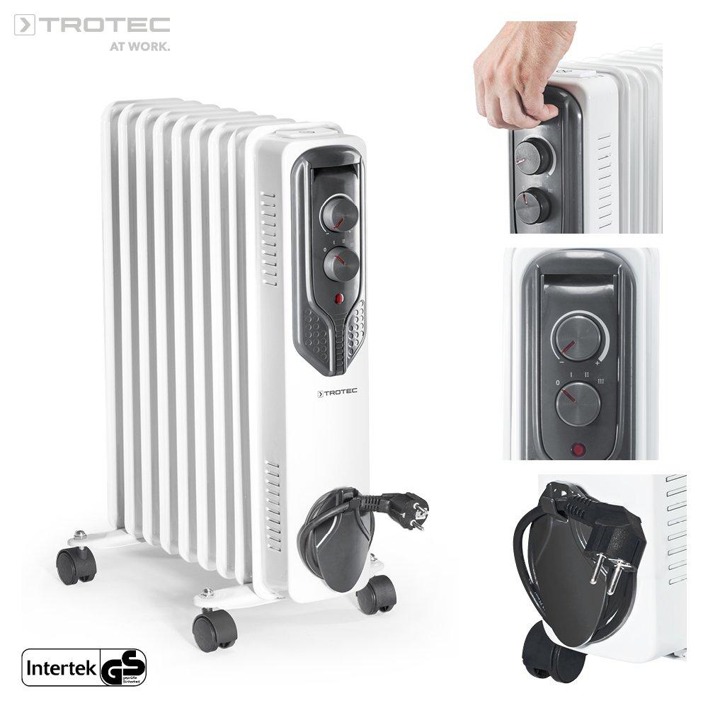 TROTEC Radiador de aceite TRH 20 E (2.000 W, 3 niveles de calentamiento, termostato, 4 ruedas): Amazon.es: Bricolaje y herramientas