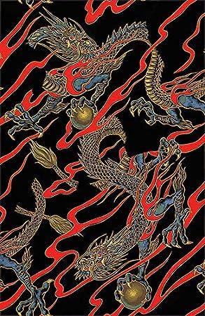 Tela japonesa, asiática, acolchada, tela de costura, tatuaje ...