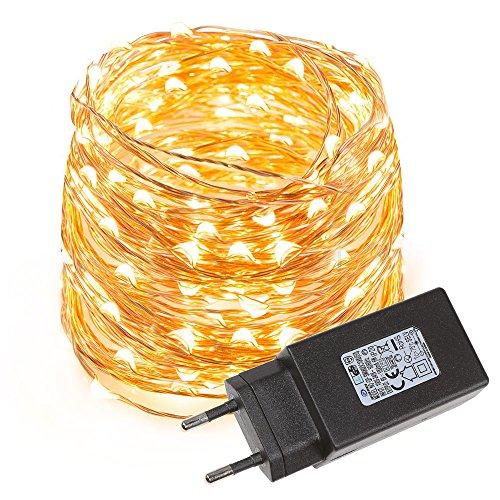 LE-Cadena-de-luces-LED-10m-alambre-de-cobre-impermeable-100-LED-blanco-clido-guirnalda-de-luces-decoracin-para-navidad-fiestas-bodas-jardines-festivales