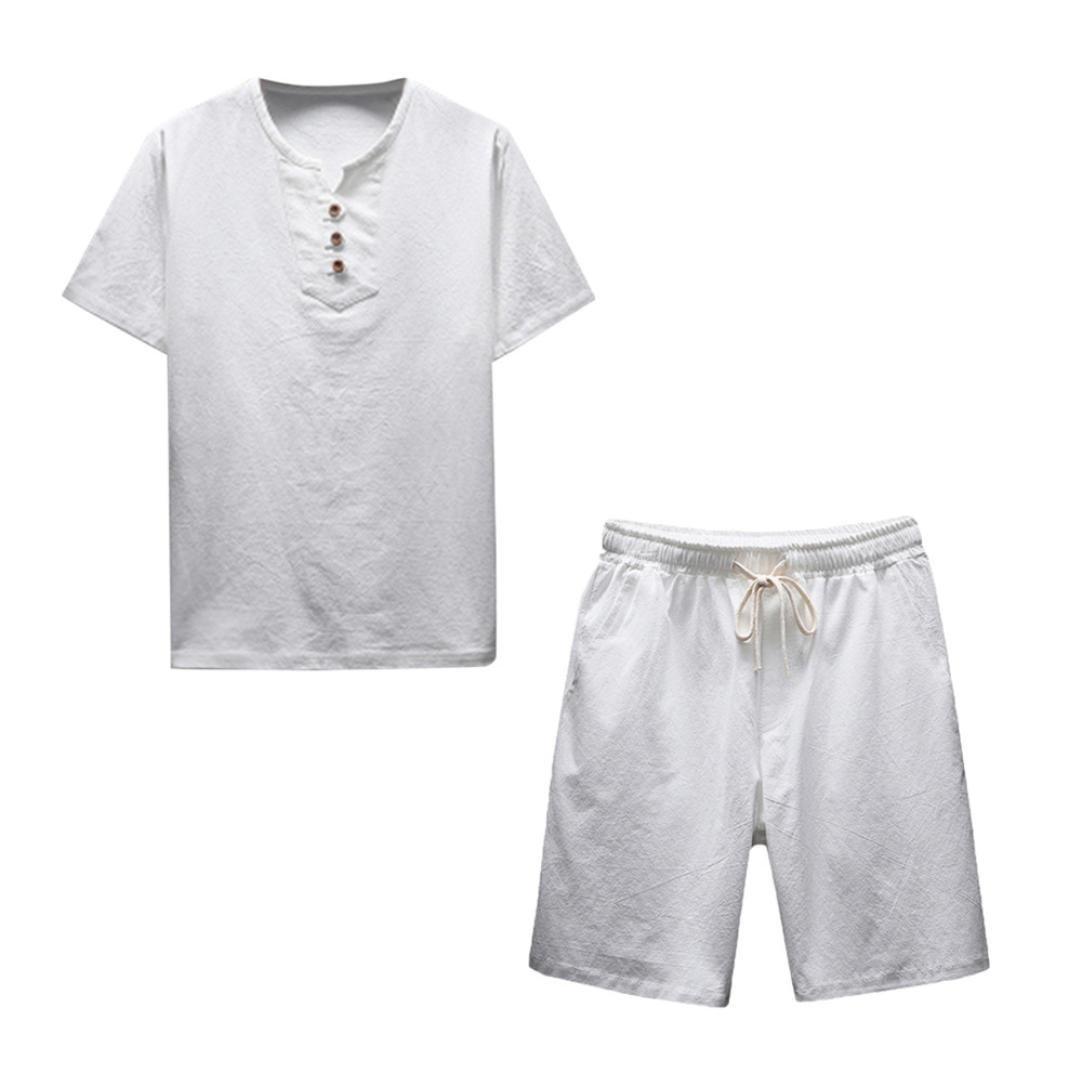Summer Men Short Sleeve Comfy Linen Soft Blouse T-Shirt Top Shorts Pants Set