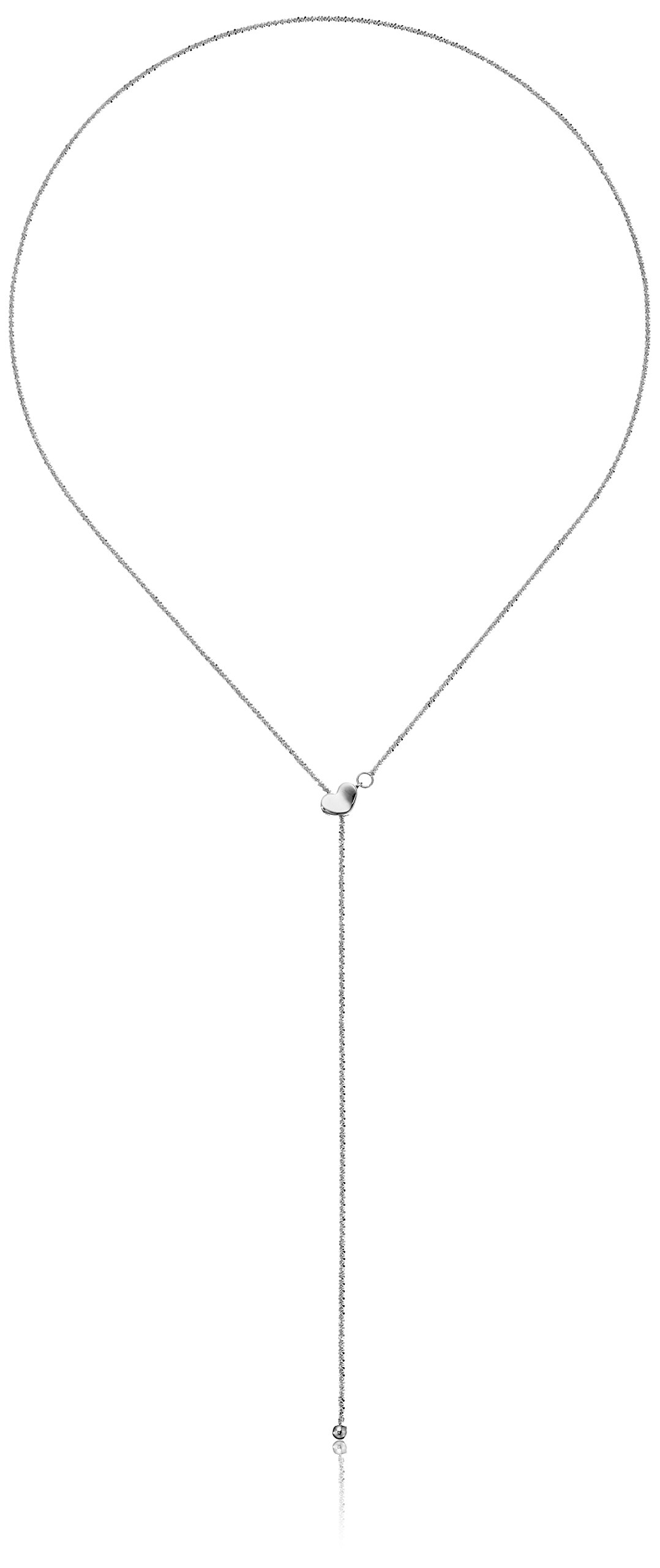 14k White Gold Adjustable Heart Lariat Sparkle Chain Y-Shaped Necklace, 22''