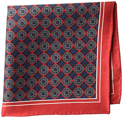 BUTTONED DOWN Men's Classic Silk Hand Rolled Pocket Square, red medallion, One Size ()