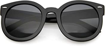 fa1c70b2695f zeroUV - Round Retro Oversized Sunglasses for Women with Colored Mirror and Neutral  Lens 53mm