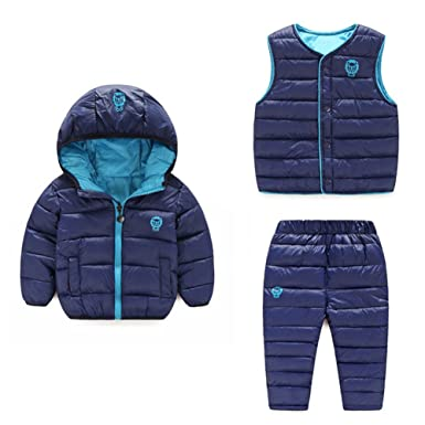 286a2bd9b Amazon.com: Baby Boy Girl Winter Puffer Snowsuit Down Hooded Jacket+Vest+Ski  Pants Set: Clothing