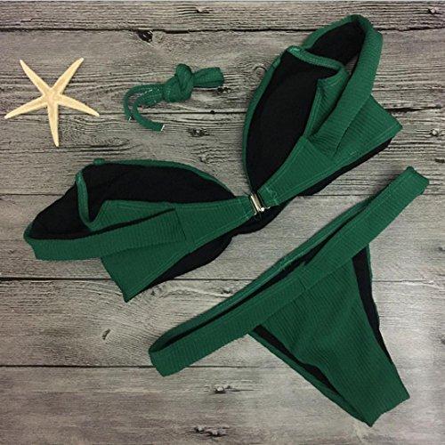 Trajes de baño para mujer,RETUROM Nuevas mujeres atractivas Push-Up acolchado Bra Bikini Set Verde
