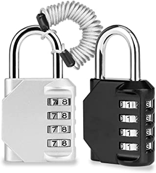 Candado Combinacion, Domserv 2 Pack Candado Maleta, 4 Dígitos Candado de Seguridad para Equipaje, Taquilla, Gimnasio,Mochila, con Cuerda de Alambre Retráctil: Amazon.es: Electrónica