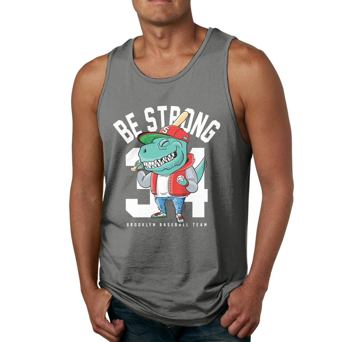 Mans Casual Pure Color Round Neck Dinosaur and Baseball Gym Tank Undershirts