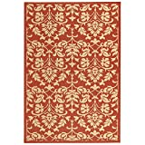 """Safavieh Courtyard Collection CY3416-3707 Red and Natural Indoor/ Outdoor Area Rug, 5 feet 3 inches by 7 feet 7 inches (5'3"""" x 7'7"""")"""