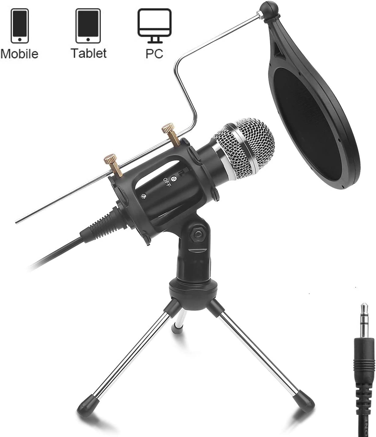 DricRoda Phone Microphone, 3.5mm Condenser Recording Microphone Computer MIC Set for Karaoke, Gaming, Podcast, Video Conference, Facebook, YouTube (X-1)