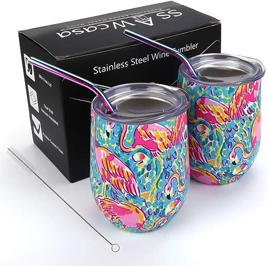 Amazon.com: Vaso de vino aislado, 2 unidades, 12 onzas ...