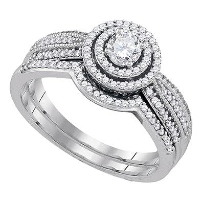 32a543a4edb7f Amazon.com: 10k White Gold Womens Round Diamond Concentric Bridal ...