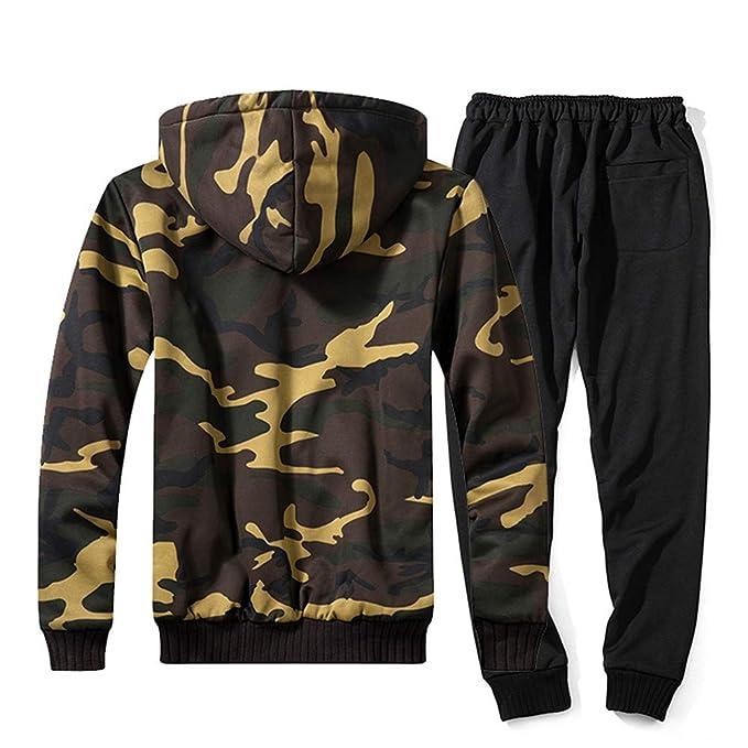 ZODOF Chaqueta Slim para Hombre Unisex Otoño Invierno Camuflaje Sudadera Pantalones Top Conjuntos Traje Casual Chándal: Amazon.es: Ropa y accesorios