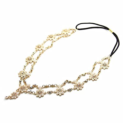 df2e049f384e60 Vintage oriental bandeau cheveux Bijoux pour la tête avec perles et fleurs  en strass   festival