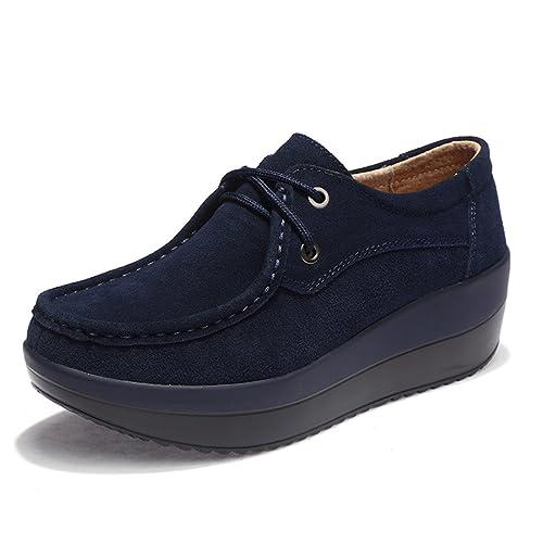 Z.SUO Mujer Mocasines de Cuero Gamuza Moda Loafers Casual Zapatos  Amazon.es   Zapatos y complementos c9caa3a8e600