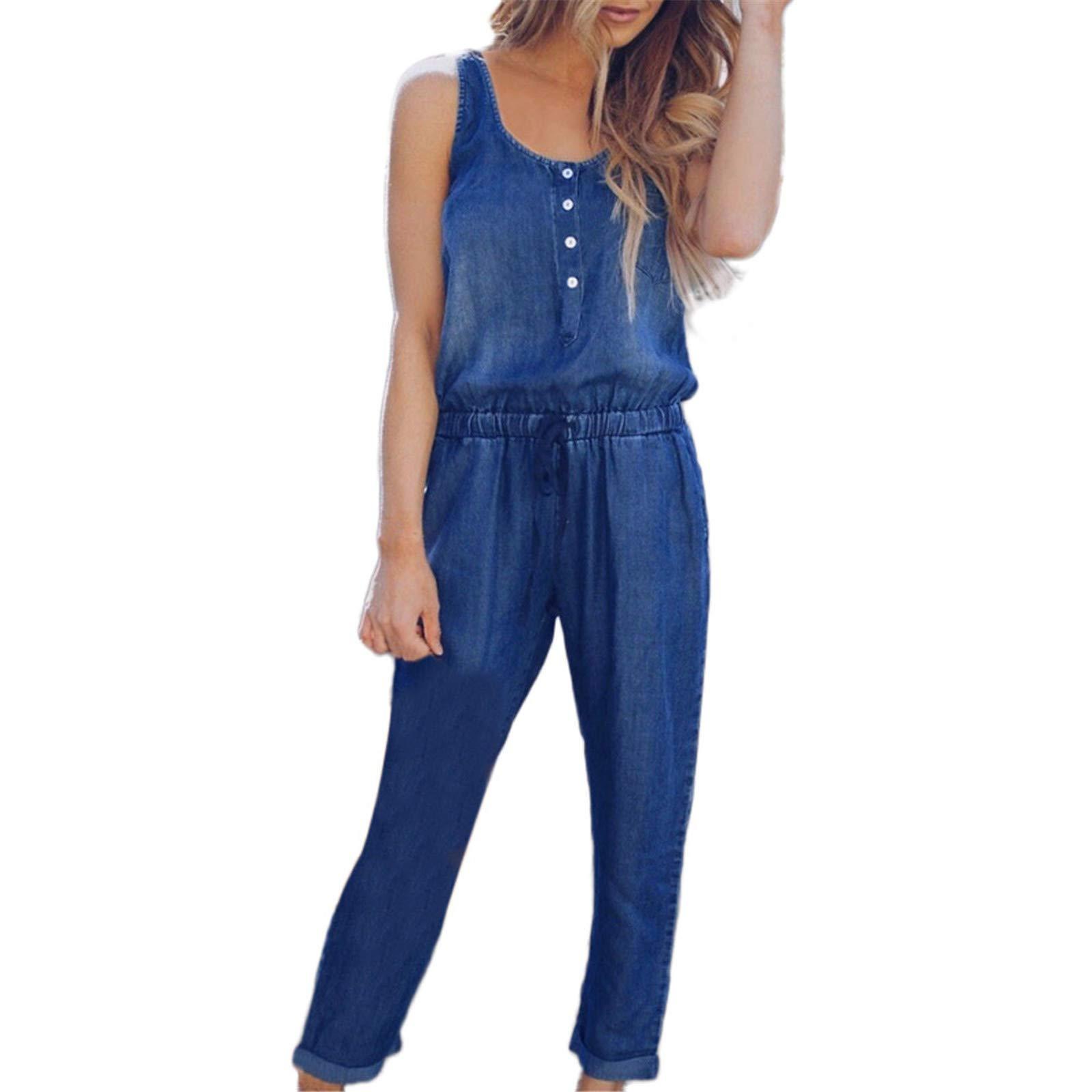 Thenxin Womens Jeans Playsuit O-Neck Sleeveless Elastic Waist Denim Long Casual Jumpsuits(Deep Blue,XL)