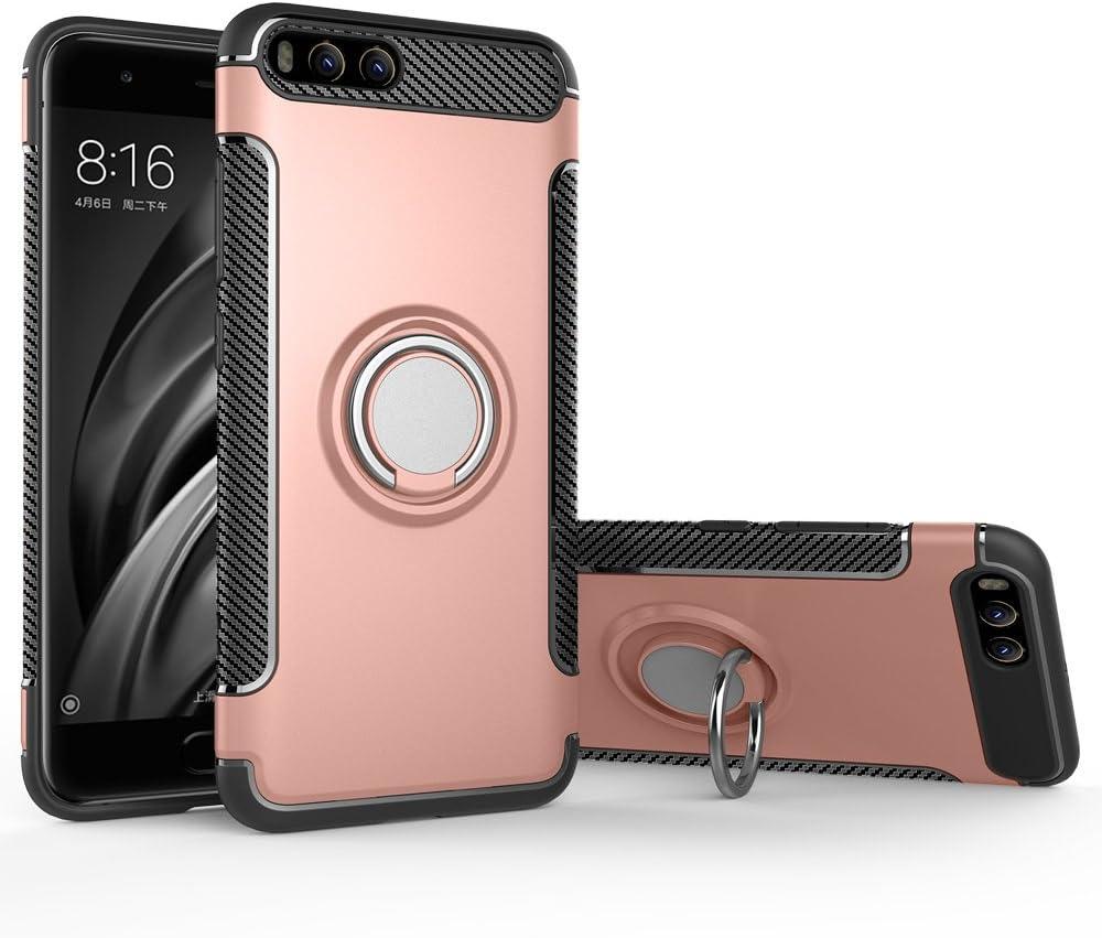 BLUGUL Funda Xiaomi Mi 6, Soporte Giratorio del Anillo de 360 Grados, Compatible con Soporte Coche Magnético, Case Cover para Xiaomi 6 Oro Rosa