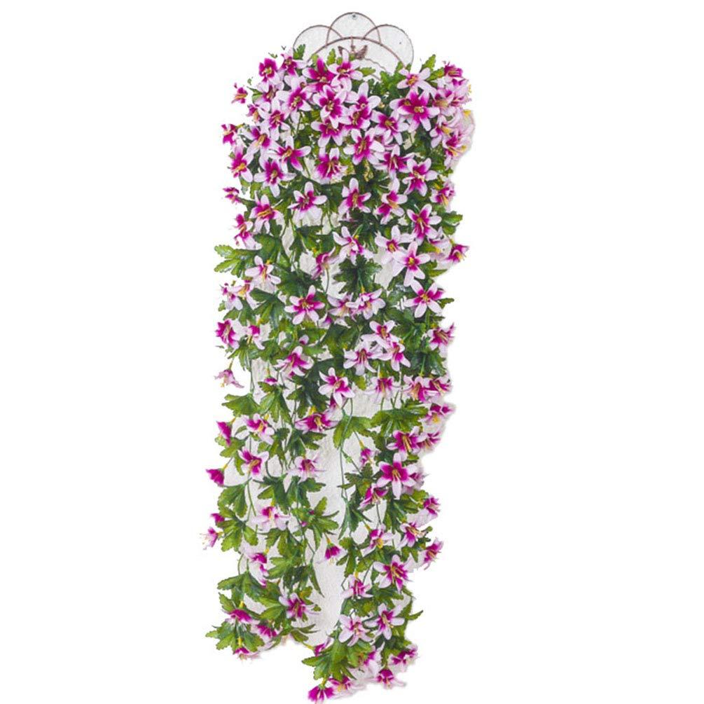 Yuntown 造花 つるつる 葉 2個 造花 つり下げ ユリ植物 バスケット ガーランド アイビー グリーン アウトドア ウェディング パーティー ガーデン インテリア ホワイト B07H17P5TT ホワイト