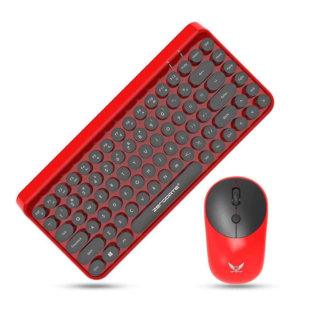 LayOPO Wireless Tastiera e Mouse Laptop/ Tastiera e Mouse Wireless 2.4/G Retro Combo per Desktop Nero e Rosso Computer /Impermeabile Notebook PC