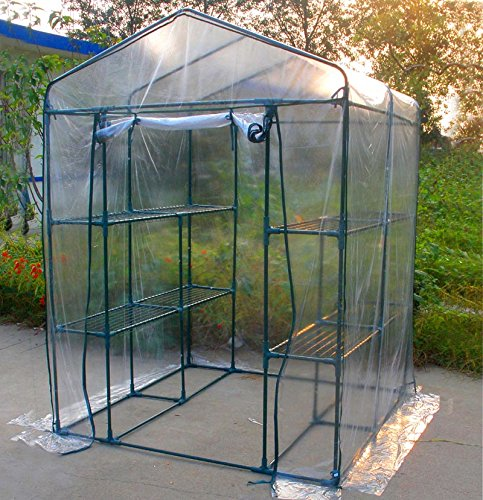 MTB Outdoor Portable Walk-in Garden Greenhouse 2 Tiers 8 Shelves with PVC Cover – 56″ Lx56 Wx77 H