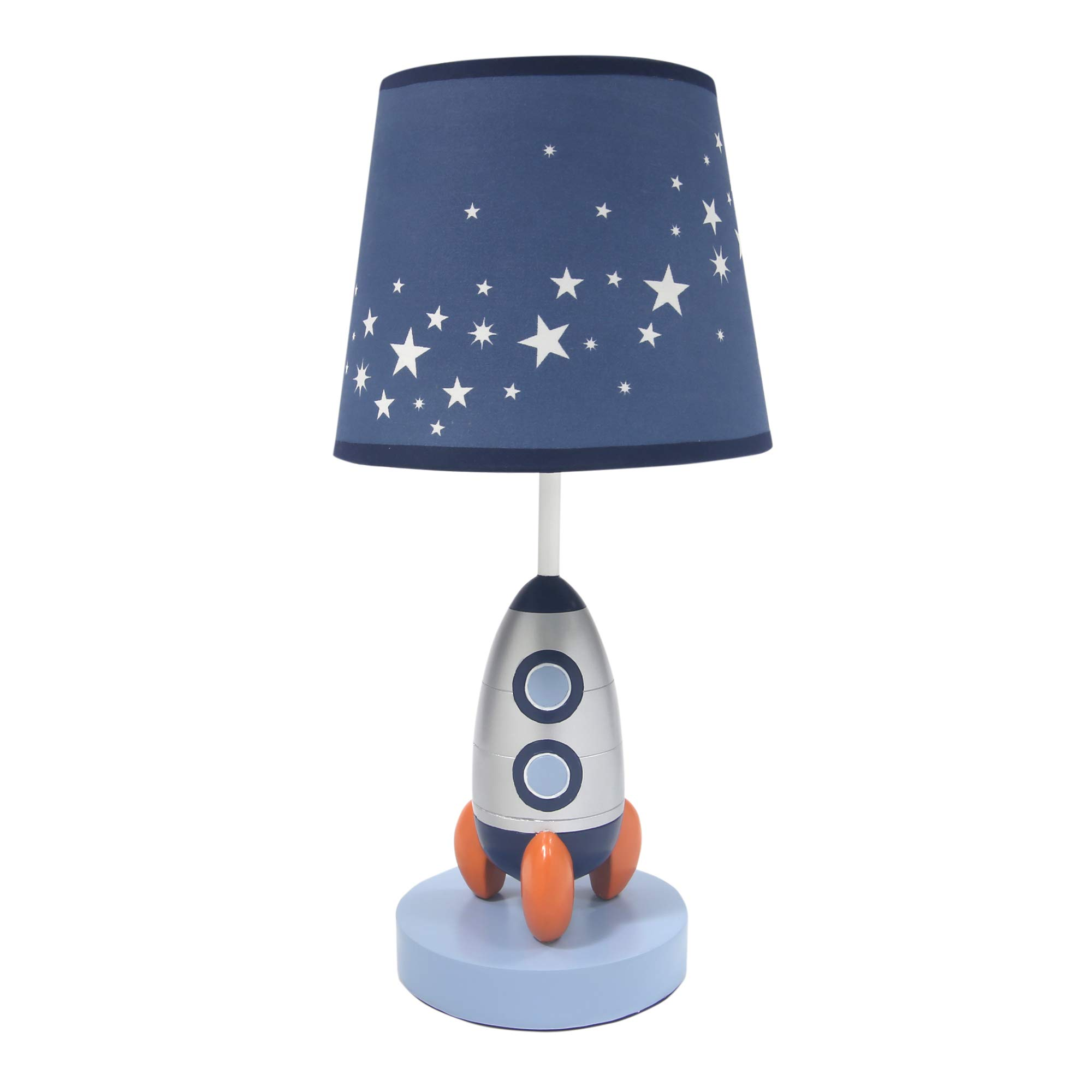Lambs & Ivy Milky Way Blue/Silver Rocket Ship Nursery Lamp with Shade & Bulb by Lambs & Ivy
