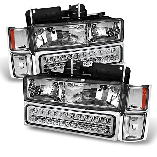 For Chevy C/K Series Silverado Suburban Tahoe Pickup Truck Chrome Housing Headlight + LED Bumper + Corner Light Set