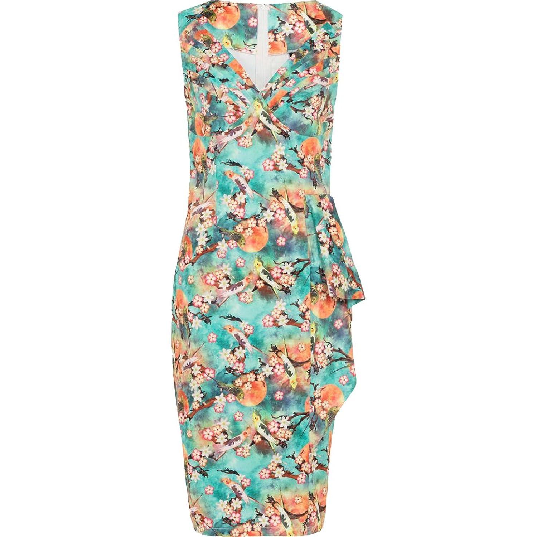 Vintage Tea Dresses, Floral Tea Dresses, Tea Length Dresses Voodoo Vixen Jessa Tropical Bird Print Pencil Dress Green $63.70 AT vintagedancer.com