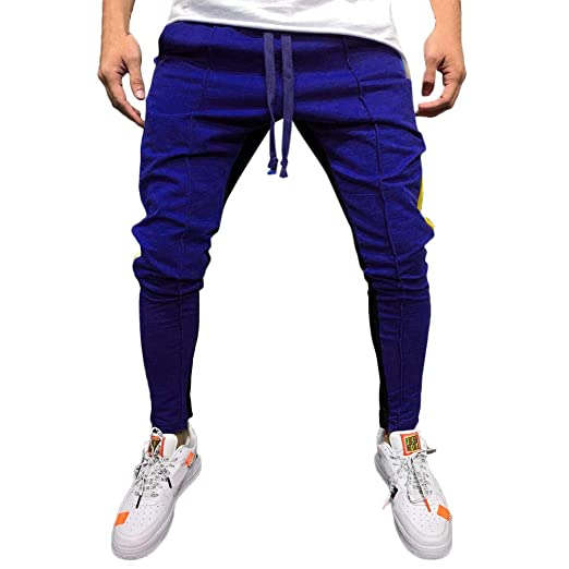 aa70183ca Trousers for Men Gym,Fashion Men's Casual Solid Loose Patchwork Color Sweatpant  Trousers Jogger Pant