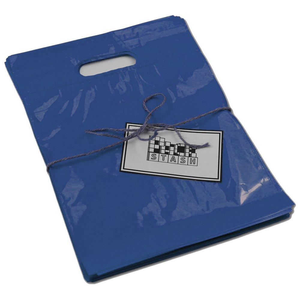 PACKSTASH(500QTY)9X12 네이비 블루 소매 플라스틱 상품 쇼핑 가방(작은)고급 눈물 저항하는 필름 두꺼운 손잡이 활기찬 광택 처리