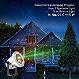 Outdoor Laser Light SUNY 3 Lens Christmas Laser Projection Red Green Dual Color Star Dots Projector Landscape Laser Light Wide Coverage Waterproof Aluminum Holiday Party Garden Yard Night Decoration