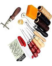 Wankd 14 piezas de herramientas de cuero para coser a mano, accesorios de costura,
