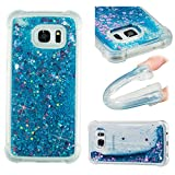 Samsung S7 Edge Case,Oukety Clear Flexible Silicone Phone Cover Galaxy S7 Edge Cover Glitter Shiny Liquid Sand Shockproof Transparent Protective Case Luxury Bling Case for Samsung Galaxy S7 Edge -Blue