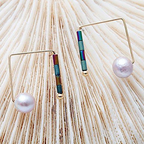 Trendy Geometric Natural Handmade Pearl Earrings Beautiful Fresh Style Simple ()