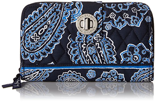 Vera Bradley Turn Lock 2 Wallet, Blue Bandana, One Size
