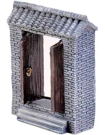 Outflower Adornos en miniatura para puerta de patio, jardín de hadas, mini macetas,