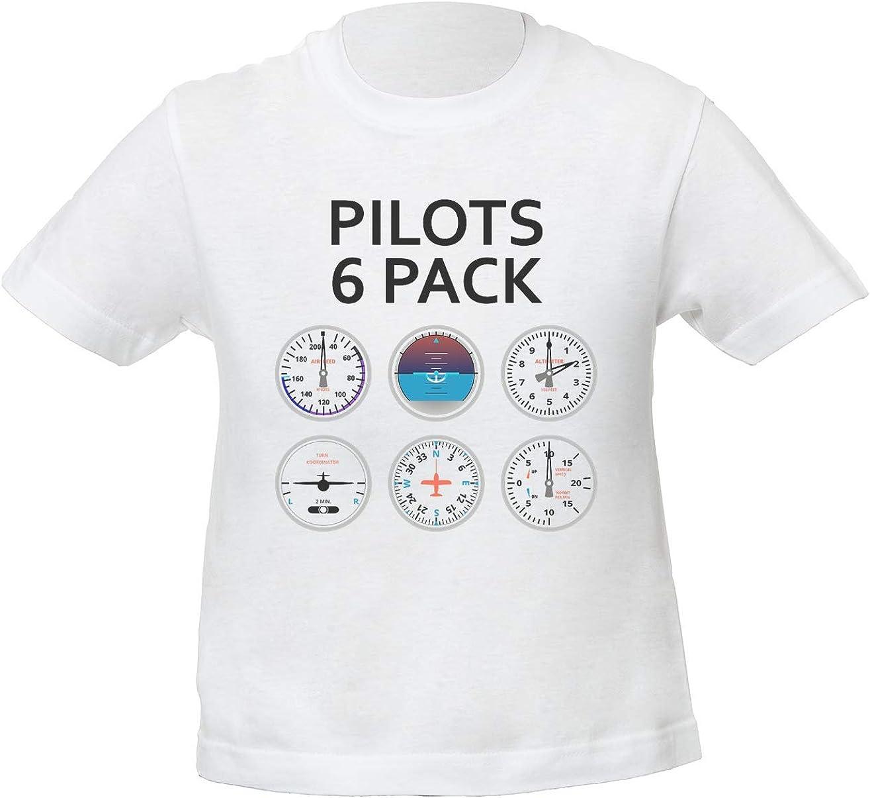 Pilotos 6 Pack Niños Unisexo Niño Niña Camiseta Blanco | Kids Unisex Boys Girls White T-Shirt Tshirt T Shirt: Amazon.es: Ropa y accesorios