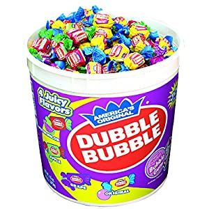 Dubble Bubble - Assorted Flavors, Reusable Halloween Candy Trick or Treat Pumpkin Filler Tub (300 Count) Peanut Free, Gluten Free