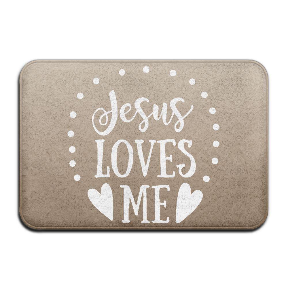 Youbah-01 Indoor/Outdoor Absorbs Mud Doormat With Jesus Loves Me Christian Graphic For Kitchen