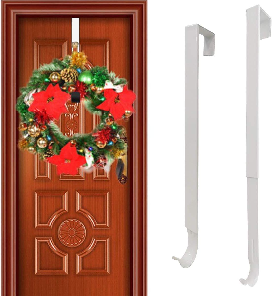 """Towels 2 Pack, White Bags Hats Metal Wreath Hook Holder Over The Door Hanger for New Year Christmas Decorations Heavy Duty Wreath Hanger for Front Door ACMETOP 15/"""" Wreath Door Hanger Clothes"""