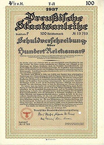 1937 DE RARE ORIGINAL 100 MARK NAZI BOND w SWASTIKA! BUY 2 GET 500 MARK, BUY 3 GET 1000 MARK, BUY 4 GET 10,0000 MARK! Please Read Deal! 100 Marks (Optional 500, 1000 and 10,000) Crisp Uncirculated (World Rare Coins)