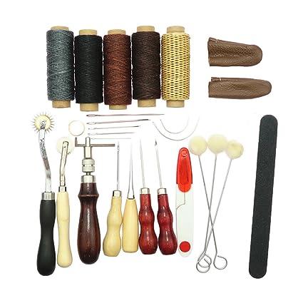 Sharplace Kit de 27pcs Herramientas de Cuero Trabajo Tiendas de Campaña Colchones Costura Costurero